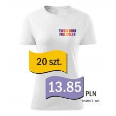 Koszulka z własnym logo biała damska kpl. 20 szt.
