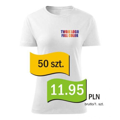 Koszulka z własnym logo biała damska kpl. 50 szt.