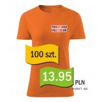 Koszulka z własnym logo kolorowa damska kpl. 100 szt.