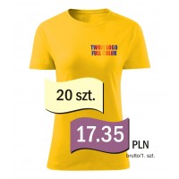 Koszulka z własnym logo kolorowa damska kpl. 20 szt.