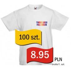 Koszulka z własnym logo biała dziecięca kpl. 100 szt.