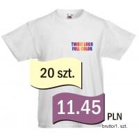 Koszulka z własnym logo biała dziecięca kpl. 20 szt.