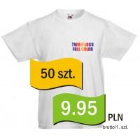Koszulka z własnym logo biała dziecięca kpl. 50 szt.