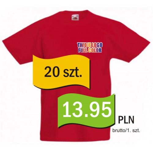 Koszulka z własnym logo kolorowa dziecięca kpl. 20 szt.