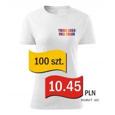 Koszulka z własnym logo biała damska kpl. 100 szt.