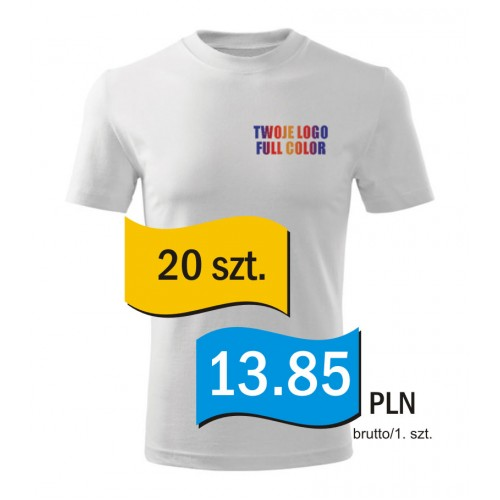 Koszulka z własnym logo biała męska kpl. 20 szt.