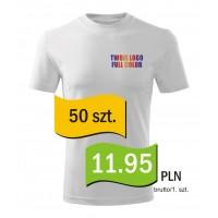 Koszulka z własnym logo biała męska kpl. 50 szt.