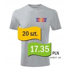 Koszulka z własnym logo kolorowa męska kpl. 20 szt.