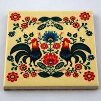 Podkładka ceramiczna pod kubek Folk Koguty 1