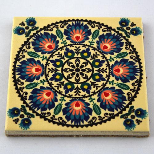 Podkładka ceramiczna pod kubek Folk Kwiat Niebieski