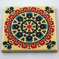 Podkładka ceramiczna pod kubek Folk Kwiat Różowy