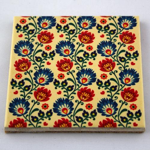 Podkładka ceramiczna pod kubek Folk Kwiaty 1