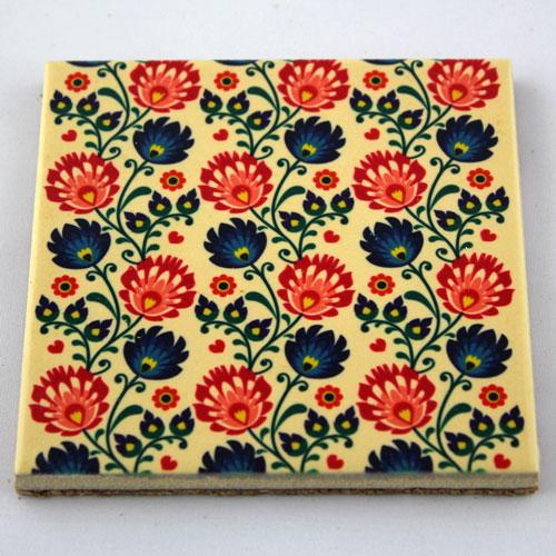 Podkładka ceramiczna pod kubek Folk Kwiaty 2