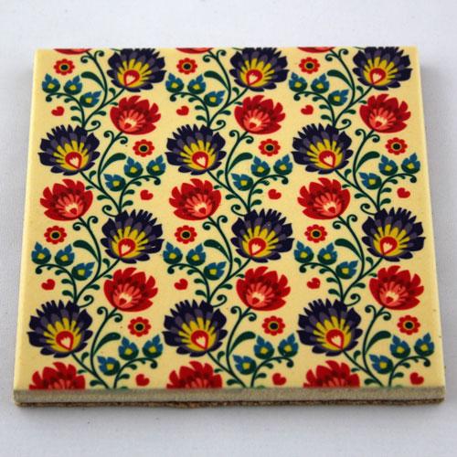 Podkładka ceramiczna pod kubek Folk Kwiaty 3