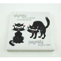 Podkładka ceramiczna pod kubek Dwa koty Optymista i Pesymista