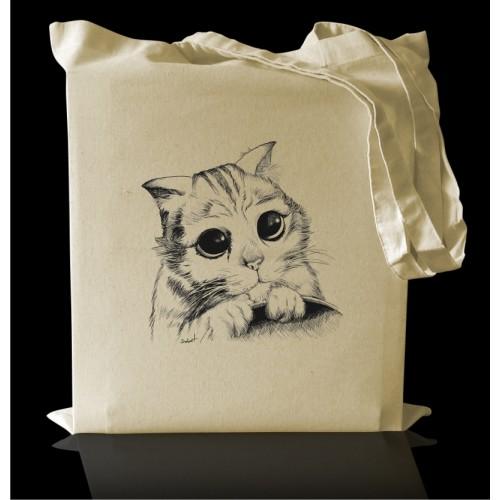Torba bawełniana Eco z nadrukiem Kot Puszek