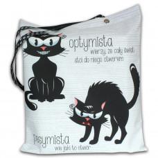 Torba impregnowana zapinana Dwa koty: Optymista i Pesymista