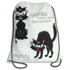 Worek/plecak impregnowany Dwa koty: optymista i pesymista